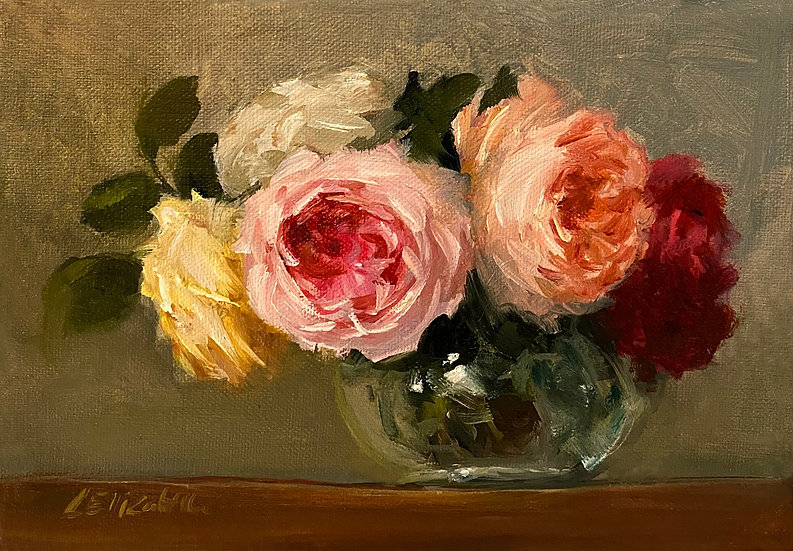 """Juliet Rose and Friends, 5""""x7"""" original oil painting on stretched linen canvas"""