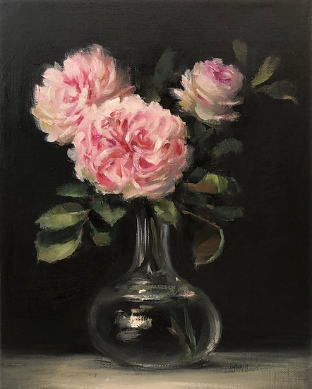 """LaTour Roses in Glass Flask 8""""x10"""" Original Oil Painting on Wrapped Li"""