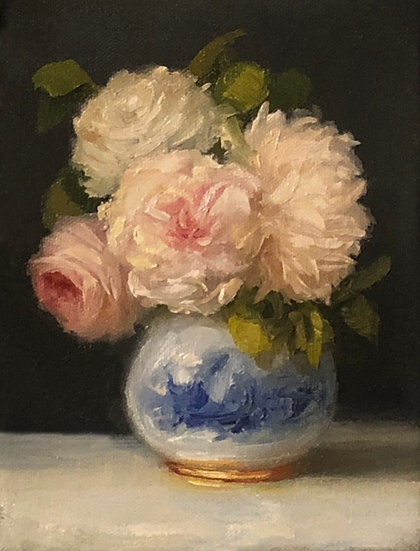 """Roses and Peony in Blue and White 6""""x8""""original oil painting on stretched linen"""
