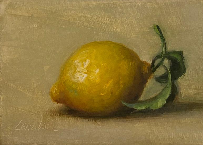 """Lemon on Linen, 5x7"""" oil on linen painting"""
