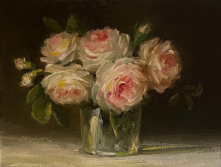 "Emily Bronte Roses in Dutch Glass, 6""x8""original oil painting on linen unframed"