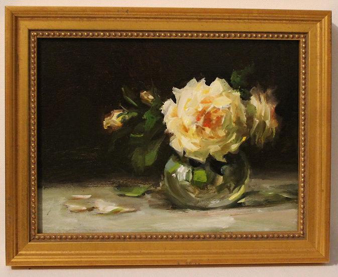 "Ivory Rose in Glass; 6""x8"" original oil painting on linen FRAMED"