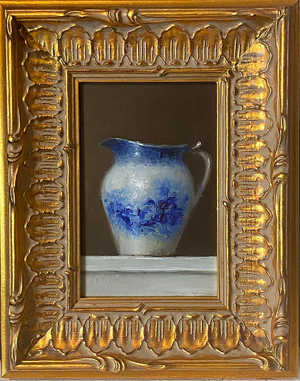 """Blue and White Pitcher Still Life 4""""x6"""""""" oil on linen painting Framed"""