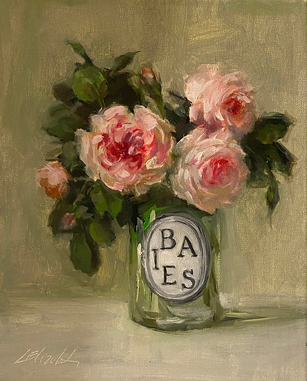 "Roses in Diptyque  Glass Oil Painting on  8""x10"""