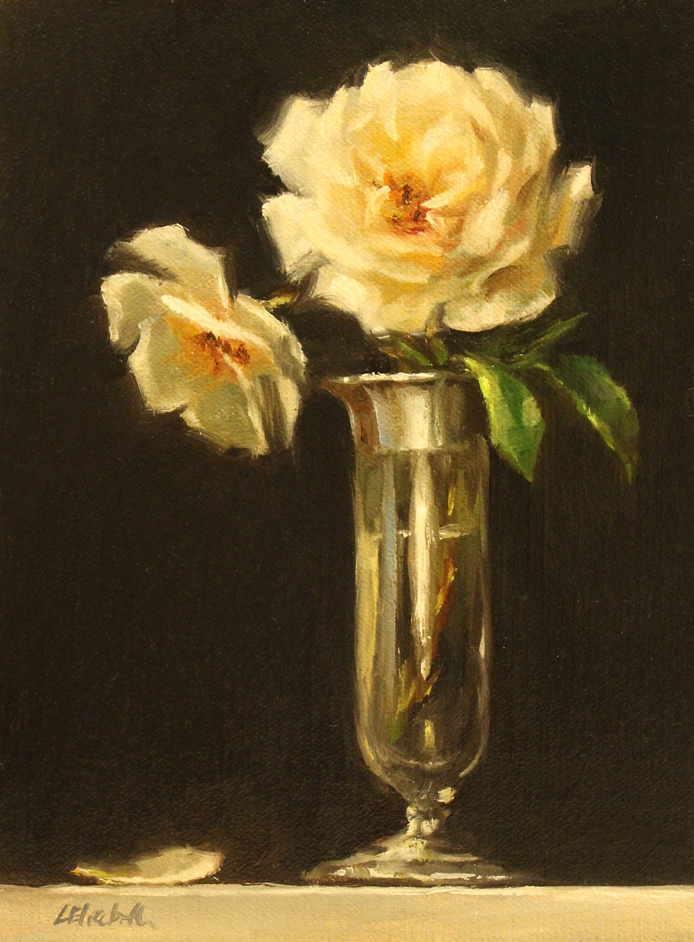 "Roses in Glass and Silver Bud Vase Oil on Linen Panel 6"" x 8"" Click here to purchase."