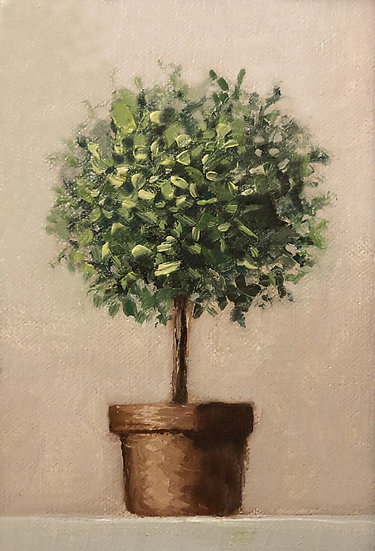 """Topiary No2, 4""""x6"""" original oil painting on linen Unframed"""