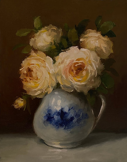 """Yellow Roses in Blue and White, 6""""x8""""original oil painting on linen Unframed"""