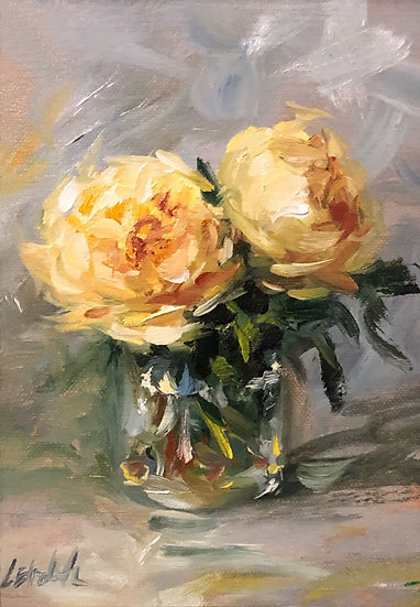 """Sketch of Yellow Roses, 5""""x7"""" original oil painting on linen Unframed"""