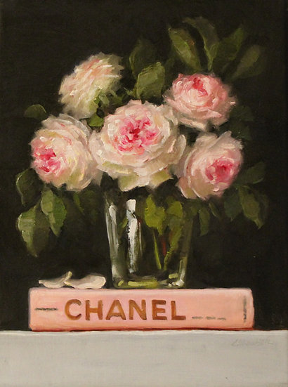 "Pink Roses and Chanel Book, Original Oil Painting on  9""x12"" Unframed"