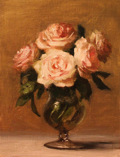 """Roses in Footed Glass, 6""""x8"""" Original Oil Painting on Li"""