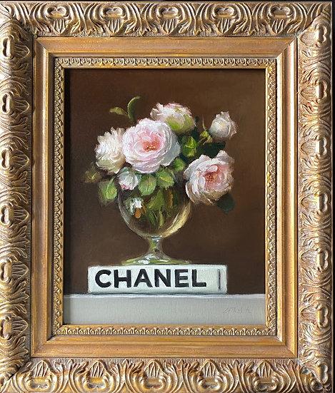 "Eglantyne on Chanel Book, Original Oil Painting on  8""x10"" Framed"