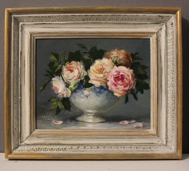 "Arrangement 0f Roses in Blue 7""x8.5"" original oil painting on linen FRAMED"