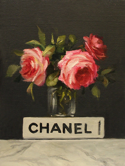 "Pink Roses with Chanel Book, 6""x8""Original Oil Painting on Linen Panel"