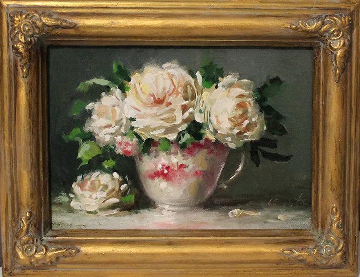 """White Roses in Red Transgerware, 5""""x7"""" original oil painting on linen FRAM"""