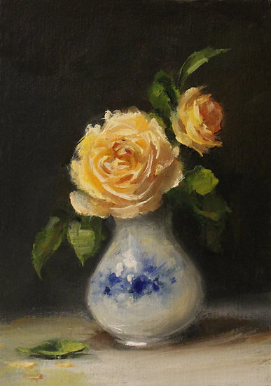 """Yellow Roses in Blue and White, 5""""x7"""" original oil painting on linen Unframed"""