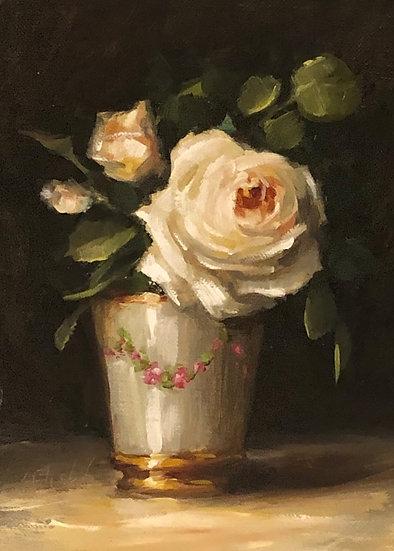 "Claire Austin Rose in Porcelain 5""x7"" original oil painting on linen Unframed"