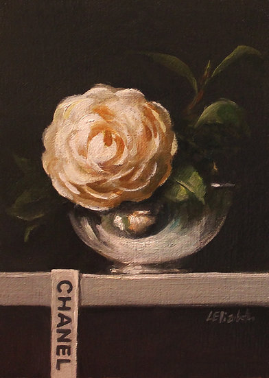 """Camellia with Chanel Ribbon, 5""""x7"""" original oil painting on linen panel"""