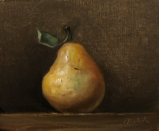 "Pear Still life, 5""x6"" original oil painting on linen Frame"