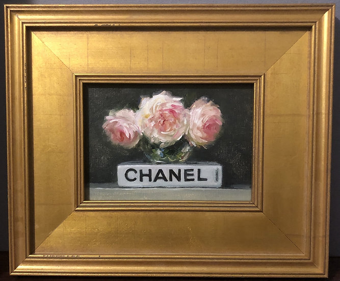 "Chanel Book with Roses, 5""x7"" original oil painting on linen FRAMED"