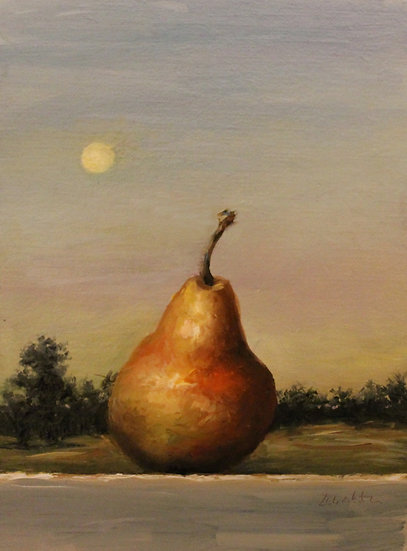 """Moon and Pear, 6""""x8"""" Original Oil Painting on Linen"""