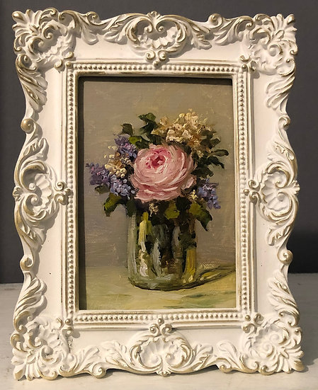 """Petite Bouquet in Glass Jar, 4""""x6"""" oil painting on linen Framed"""
