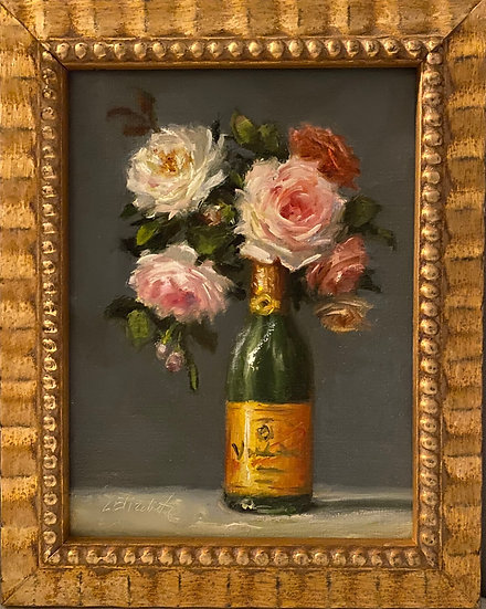 """Roses with Madame Clicquot, 6""""x8""""original oil painting on linen Framed"""