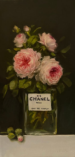 "Wedgwood Roses in Chanel No5-Oil Painting8""x16"""