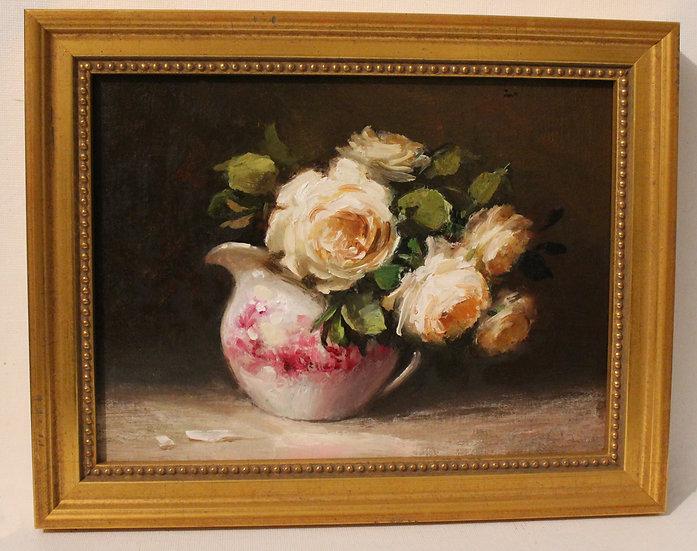 """Desdemona Roses in Red Transderware; 6""""x8"""" original oil painting on linen FRAMED"""