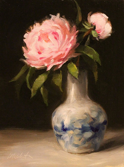 "Peonies in Blue and White, 6""x8"" original oil painting on linen panel UNFRAMED"