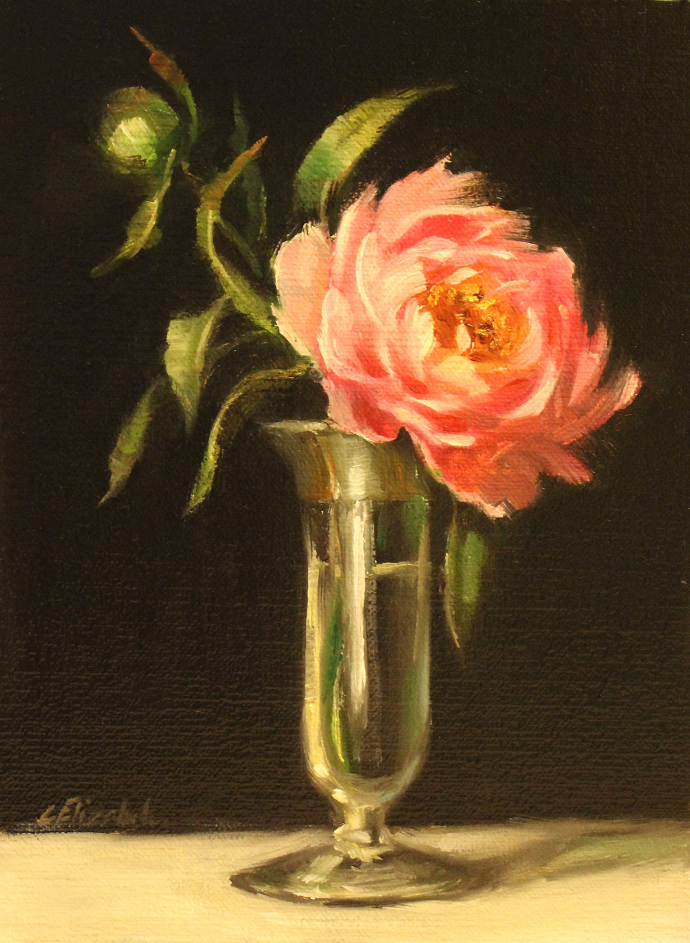 "Peonies in Glass and Silver Bud Vase Oil on Linen Panel 6"" x 8"" Click here to purchase."