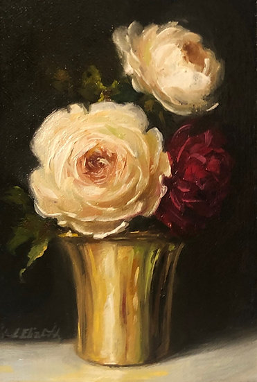 "David Austin Roses in Gold 4""x6"" original oil painting on linen Unframed"
