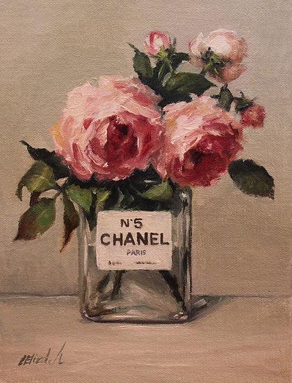 "Garden Roses in Chanel No5 Bottle, 6""x8"" Original Oil Painting on Li"