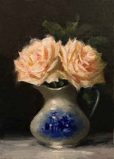 "Blush Roses in Blue and White, 5""x7"" original oil painting on linen Unframed"