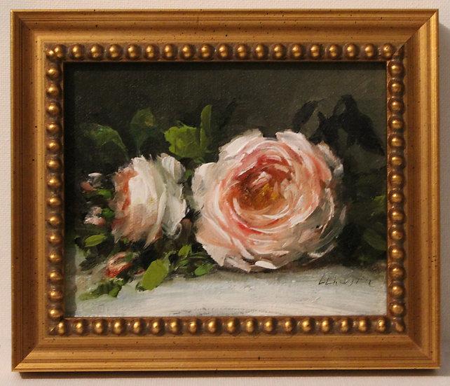 """Evening Rose Still Life, 4""""x5"""" original oil painting on linen FRAMED"""