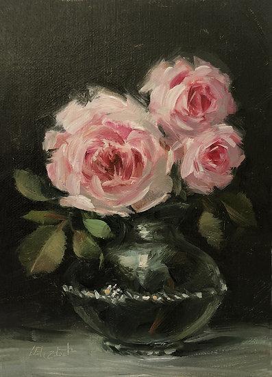 "Roses on Blown Glass Vase, 5""x7"" original oil painting on linen"