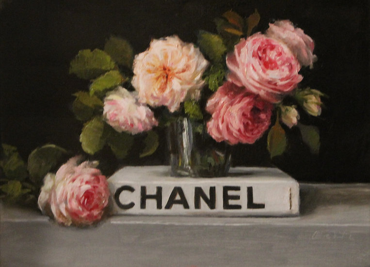 "Rose Posy on White Chanel Book, Original Oil Painting on  9""x12"" Unframed"