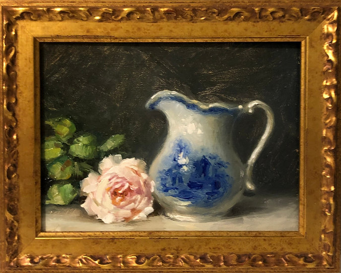 """Gentle Hermione with Blue & White 6""""x8"""" original oil painting on linen FRAMED"""