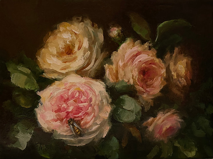 """Honey Bee in the Roses, 6""""x8""""original oil painting on linen"""