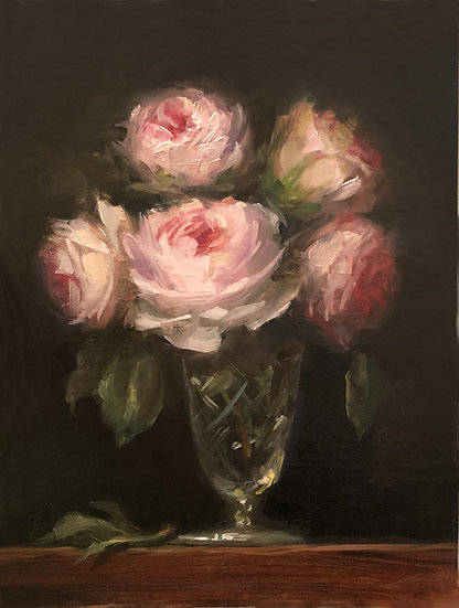 "Scepter'd Isle Roses in Crystal, 6""x8"" original oil painting on linen Unframed"