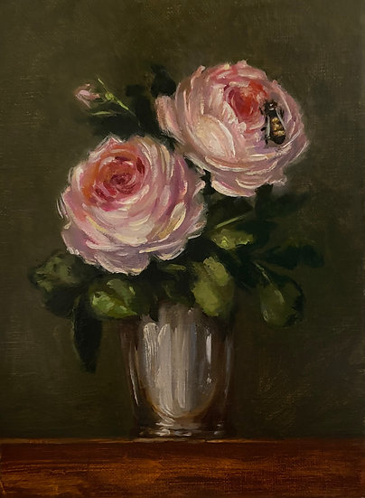 """Bee with Mill on the Floss Roses 6""""x8""""original oil painting on linen"""
