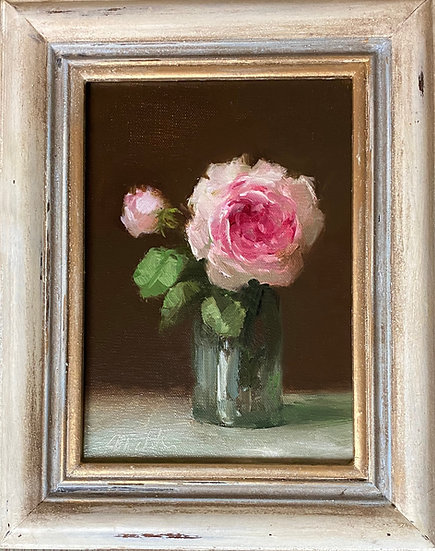 "Wedgewood Rose in Glass  5""x7"""" oil on linen painting Framed"