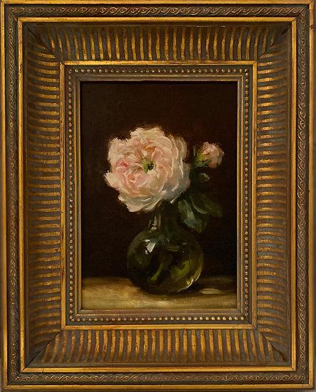 """Damask Rose in Green Glass, 5x7"""" oil on linen painting Framed"""