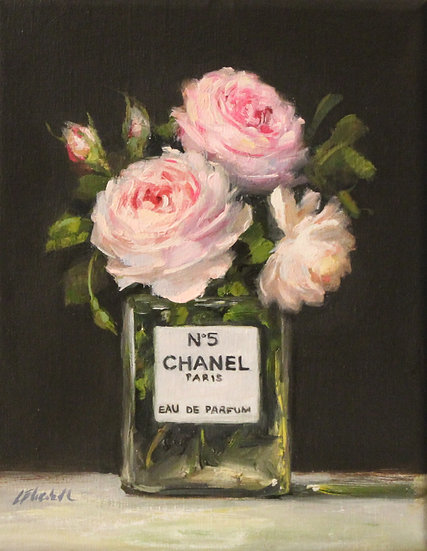 "Pink Roses in Chanel No5, Original Oil Painting on  8""x10"" Unframe"