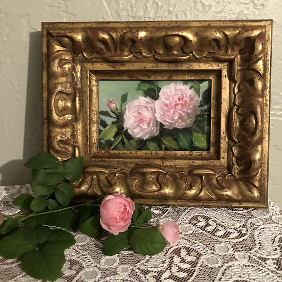 """Eglantyne Roses in the Garden, 4""""x6"""" original oil painting on linen Frame"""