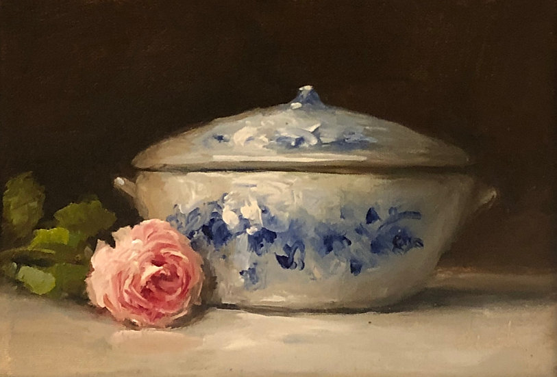 "Rose with Ironstone Tureen, 5""x7"" original oil painting on stretch linen"