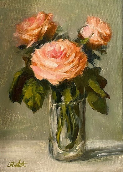 "Light Peach Roes in Glass 5""x7"" original oil painting on stretch linen"