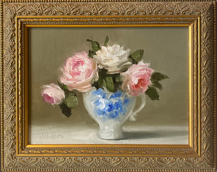 "Roses in Blue and White Cup, 6""x8""original oil painting on linen"
