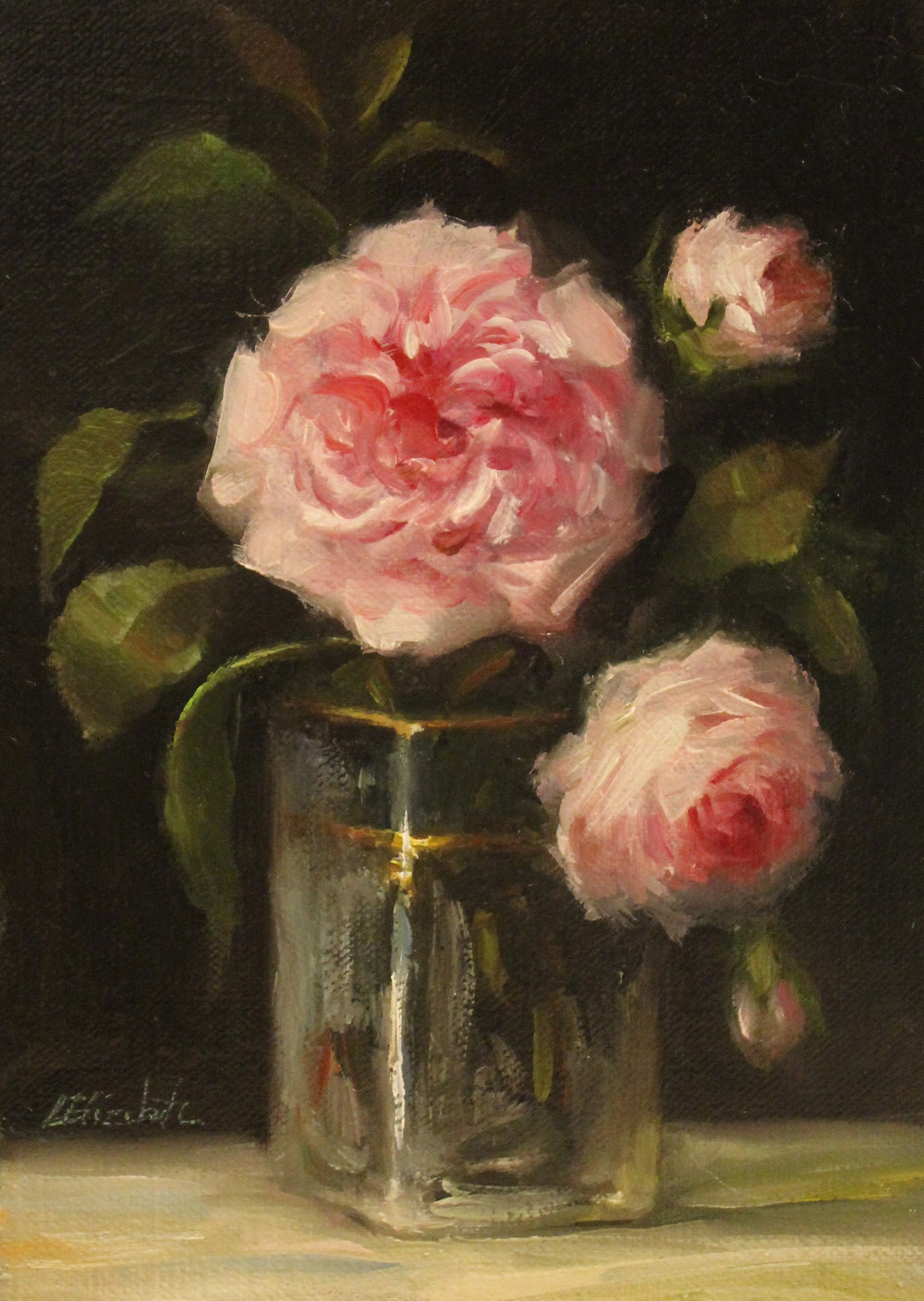 "Roses in Vase with Gold Trim on Linen Panel 5""x7"""