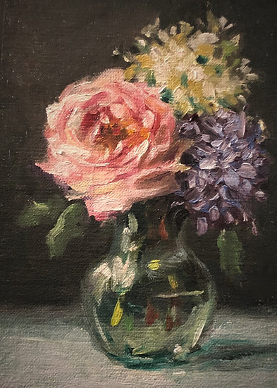 "Rose and Lilacs, 5""x7"" original oil painting on linen"