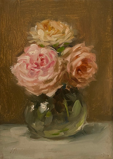 """Roses in Soft Hues, 5""""x7"""" original oil painting on stretch linen"""